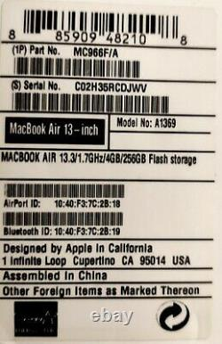 Apple Macbook Air 13.3 (intel Core, 1.7 Ghz, 128 Gb, 4 GB Ram) Mid2011