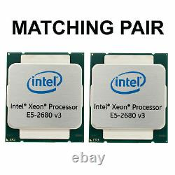 2x Intel Xeon E5-2680 v3 12x2, 5GHz-3, 3GHz 12 Core CPU LGA2011-3 Appariés Paire