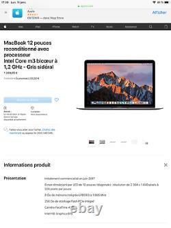 Apple MacBook 12,1 (Intel Core m3, 1.1GHz, 256Go SSD, 8Go RAM) quasiment NEUF