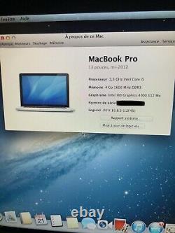 Apple MacBook Pro 13,3  1To DD, Intel Core i5 3ème Génération, 2,3 GHz