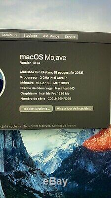 Apple MacBook Pro 15,4 (Intel Core i7-4770HQ, 2 GHz, 256 Go SSD, 16 Go RAM)