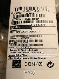 Apple MacBook Pro A1278 (13 Pouces, Fin 2011), Intel core i5 2,3GHz, DDR 320Go