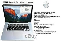 Apple MacBook Pro A1286 15 Intel Core 2 Duo 2.8 GHz 4Go DDR3 SSD 240