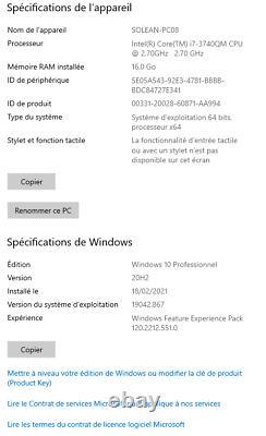 HP ELITEBOOK 8570W 15,6 Intel Core i7 3520QM 2.6 Ghz Ram 16 Go DD 250 Go