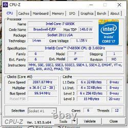 Intel Core i7-6850K 6-Core 3.6GHz 15MB Cache LGA2011 140W CPU Processor