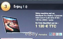 MACBOOK PRO RETINA 13 INTEL CORE i7 3,60 Ghz 8 Go 2013