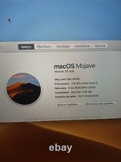 Mac Mini (fin 2014) Intel Core i5 2,6 GHz HDD 1000Go 8GB