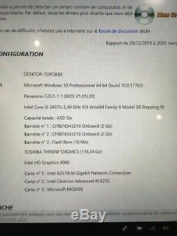 Panasonic Toughpad Fz-g1 Windows 10 Pro Intel Core I5 3437u 2,4 Ghz 4go Ram